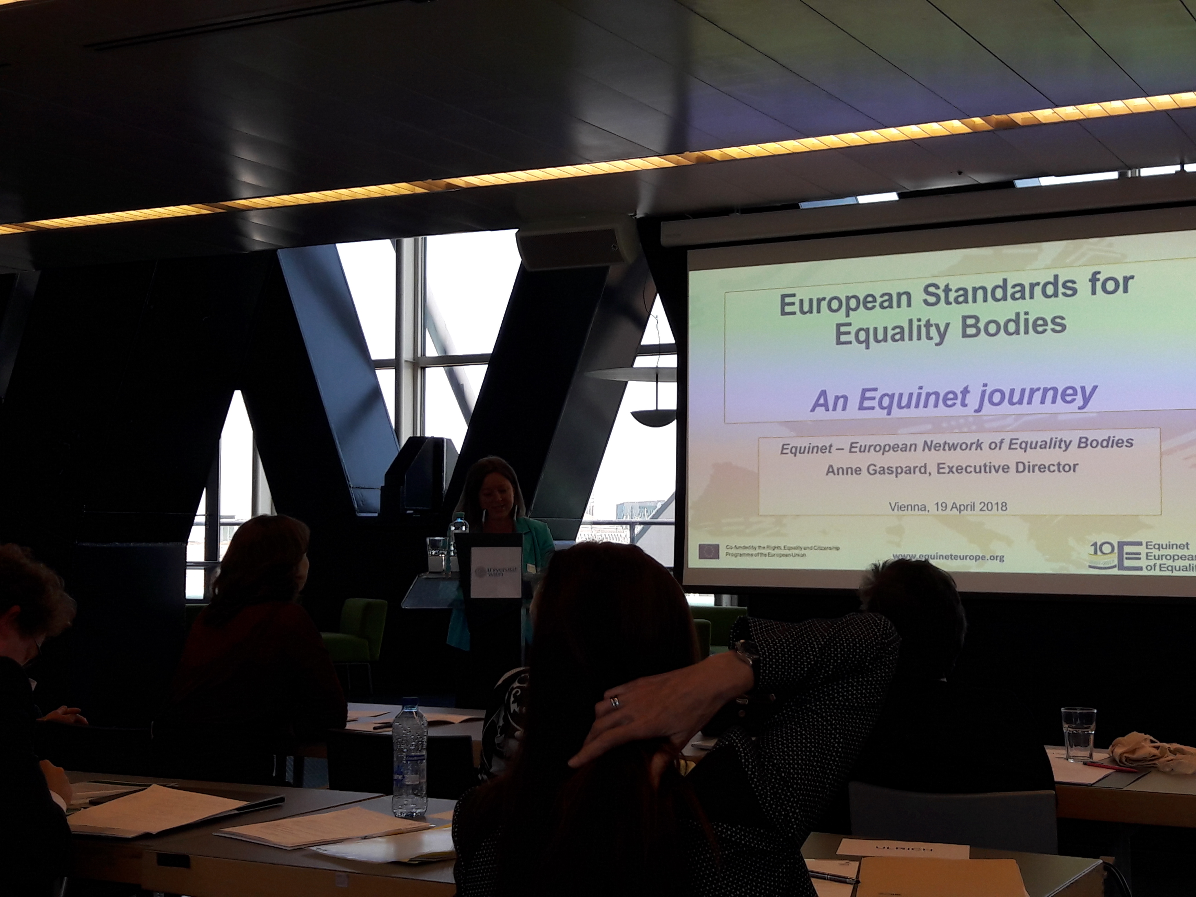 Anne Gaspard presenting Standards for Equality Bodies