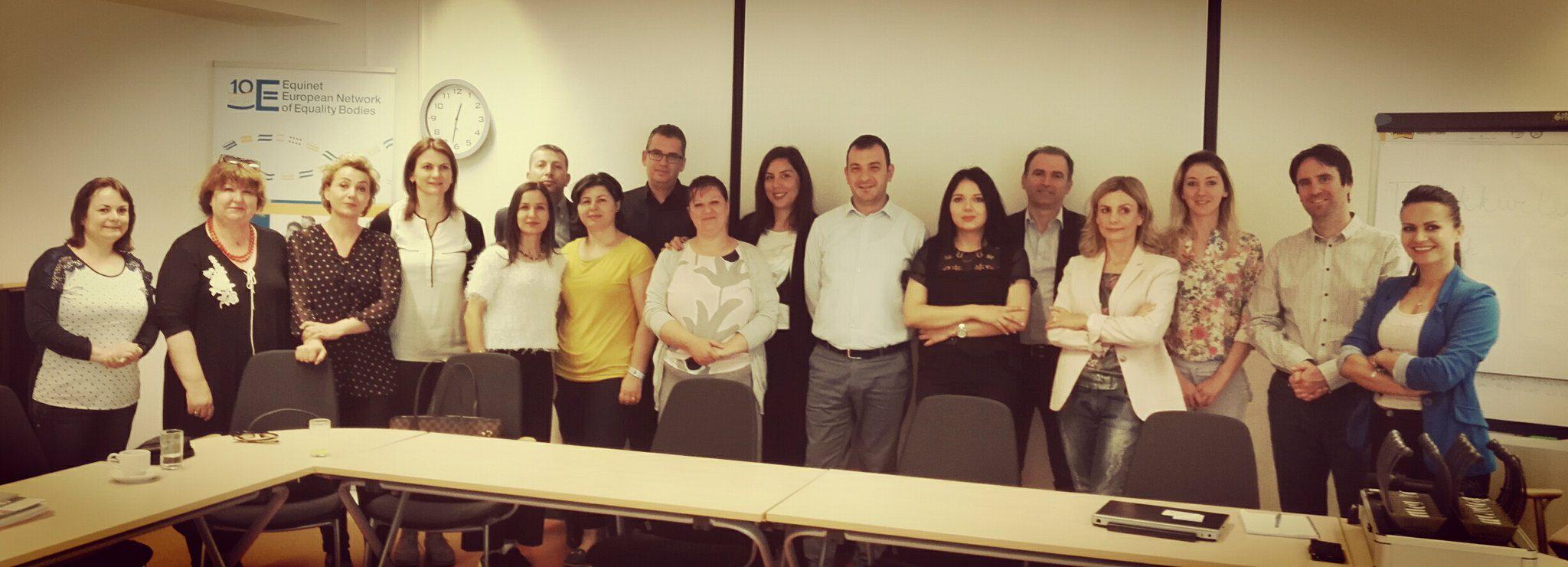 Participants of the study visit meet with Tamás Kádár, Equinet