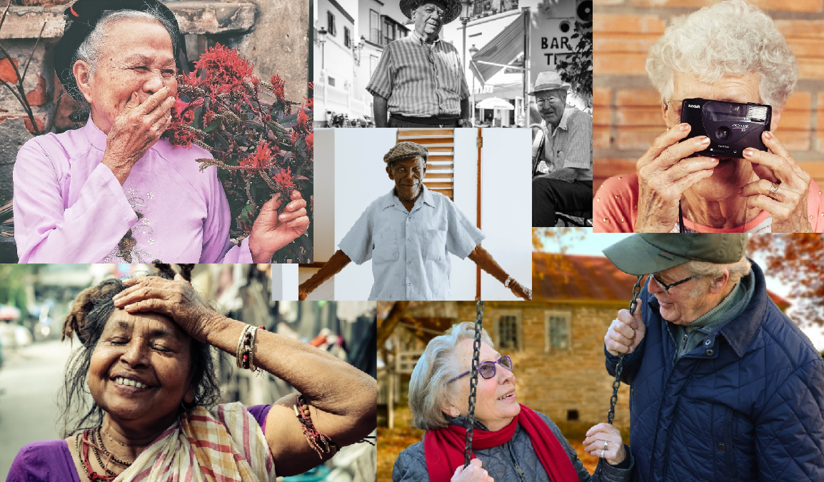 Various pictures of older persons doing various things