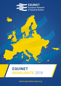 Cover of Equinet Highlights 2018, showing map of Europe, Equinet logo and www.archive.equineteurope.org