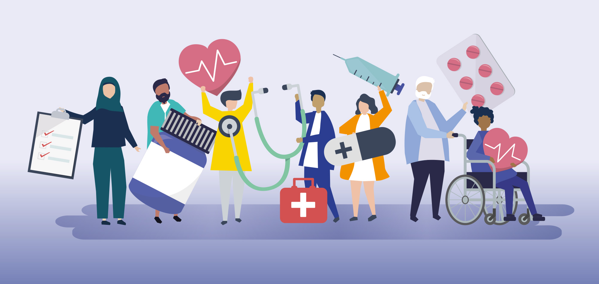 People from different backgrounds hold a variety of objects related to healthcare, such as medication, charts, medical kits etc.