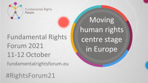 Fundamental Rights forum logo. Moving human rights center stage in Europe